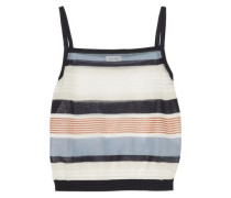 Cropped striped cotton-blend tank