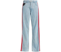 All The Colors Striped High-rise Straight-leg Jeans Light Denim