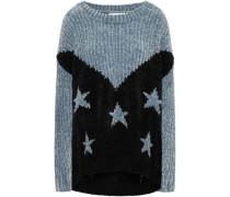 Two-tone Intarsia Chenille Sweater Black