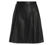 Pleated perforated leather skirt