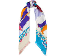 Woman Frayed Printed Silk-twill Scarf Multicolor