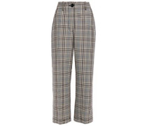 Woman Cropped Prince Of Wales Checked Wool-blend Straight-leg Pants Black