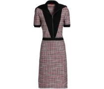 Paneled crochet-knit wool-blend dress