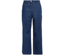 Seamore Cropped High-rise Wide-leg Jeans Mid Denim  3