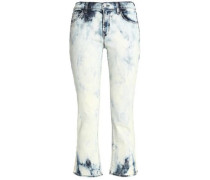 Cropped Bleached Mid-rise Boot-cut Jeans Light Denim  6