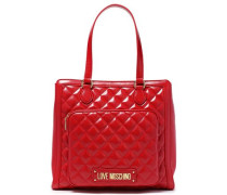 Logo-embellished Quilted Faux Leather Shoulder Bag Red Size --