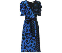 Wrap-effect Printed Silk Crepe De Chine Dress Cobalt Blue