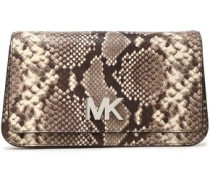 Snake-effect leather clutch