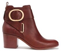 Telo Buckle-embellished Textured-leather Ankle Boots Brown