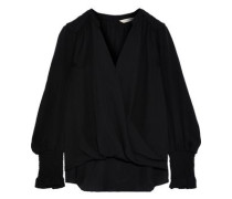 Wrap-effect Silk Crepe De Chine Blouse Black