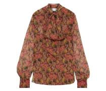 Woman Pussy-bow Floral-print Silk-chiffon Blouse Brick