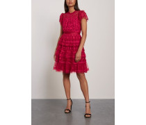 Darcy Embroidered Tulle Mini Dress Crimson Size 14