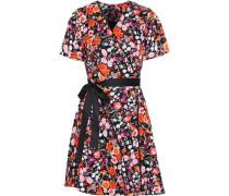Lace-trimmed Floral-print Crepe De Chine Mini Wrap Dress Multicolor