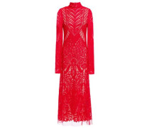 Woman Open-back Embroidered Tulle Midi Dress Red