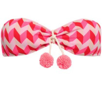 Pompom-embellished Jacquard-knit Bandeau Bikini Top Bright Pink