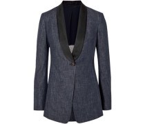 Satin-trimmed denim blazer