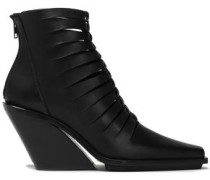 Cutout Leather Ankle Boots Black