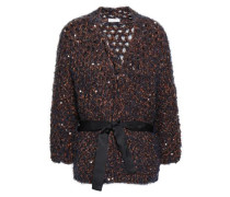 Woman Sequined Open-knit Cardigan Navy