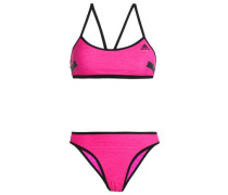 Stretch-mesh halterneck bikini