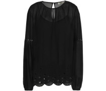 Broderie Anglaise-trimmed Georgette Blouse Black