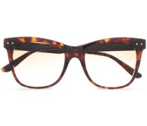 Cat-eye Leather-trimmed Acetate Sunglasses Brown Size --