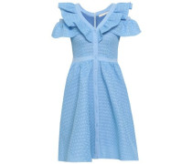 Crepe-trimmed Ruffled Crocheted Lace Dress Light Blue