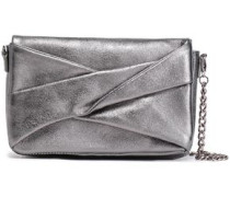 Pleated Metallic Textured-leather Shoulder Bag Gunmetal Size --