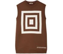 Intarsia Wool Sweater Light Brown
