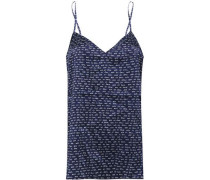 Ellie Leaping Printed Stretch-silk Satin Camisole Navy