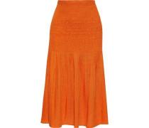Woman Shirred Pleated Gauze Midi Skirt Orange