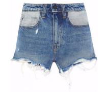 Distressed two-tone denim shorts