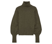 Woman Sloane Cropped Wool, Yak And Cashmere-blend Turtleneck Sweater Army Green