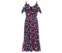 Cold-shoulder Floral-print Silk-satin Midi Dress Blue
