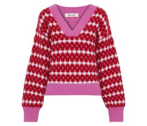 Ribbed Jacquard-knit Sweater Multicolor
