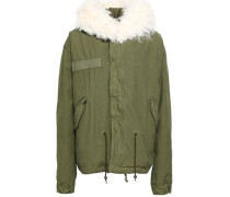 Shearling-trimmed Cotton-canvas Hooded Jacket Army Green
