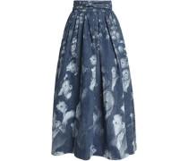Pleated printed denim maxi wrap skirt