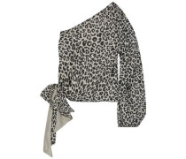One-shoulder Bow-detailed Leopard-print Silk-chiffon Top Off-white
