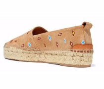 Embroidered Suede Espadrilles Beige