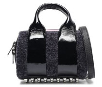 Rockie Baby Shearling And Patent-leather Shoulder Bag Dark Gray Size --