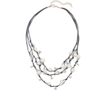 Tasseled leather, gold-tone and faux pearl necklace