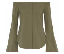 Off-the-shoulder Stretch-cotton Top Army Green