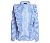 Ruffled Striped Cotton-poplin Shirt Blue