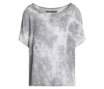 Frayed tie-dyed crepe top