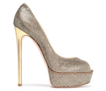 Leather-trimmed Glittered Platform Sandals Gold