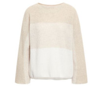 Woman Ribbed Dégradé Cashmere And Linen Sweater Neutral
