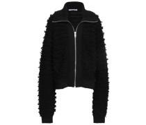 Wool-blend Bouclé Bomber Jacket Black