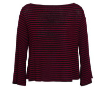 Cutout Hemp And Cotton-blend Jersey Top Plum