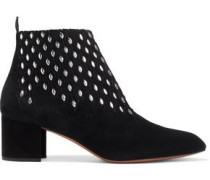 Studded Laser-cut Suede Ankle Boots Black
