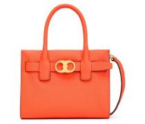 Leather Tote Bright Orange Size --