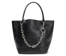 Chain-trimmed Textured-leather Tote Black Size --